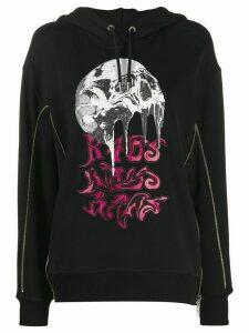 Diesel zip detail printed hoodie - Black