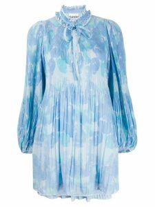 GANNI printed georgette babydoll dress - Blue