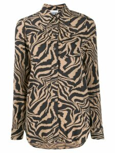 GANNI tiger swirl print buttoned shirt - NEUTRALS