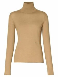 Burberry embroidered logo roll neck jumper - Brown