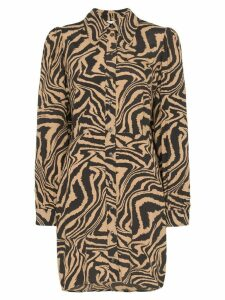 GANNI zebra-print mini shirt dress - Brown