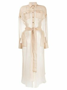Brunello Cucinelli button down sheer silk shirt - NEUTRALS