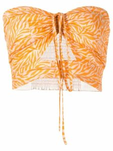 Suboo Sienna printed strapless top - ORANGE