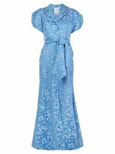 Rosie Assoulin puff sleeve jacquard maxi dress - Blue