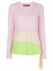 Sies Marjan Sae layered ribbed-knit jumper - PINK