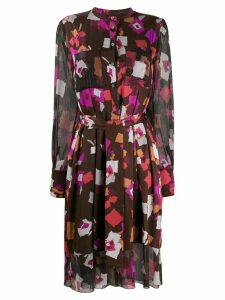 Talbot Runhof belted print short dress - Brown