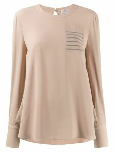Brunello Cucinelli crepe de Chine long-sleeved top - NEUTRALS