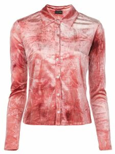 Callipygian velvet button shirt - Red