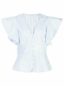 Veronica Beard striped V-neck blouse - White