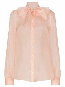 Dolce & Gabbana pussy bow silk-organza blouse - PINK