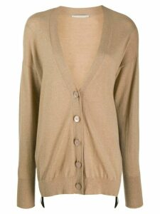 Stella McCartney asymmetric logo stripe cardigan - NEUTRALS