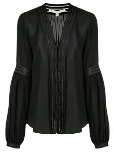 Veronica Beard Yumi pintuck-pleated silk shirt - Black