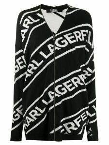 Karl Lagerfeld logo zip cardigan - Black
