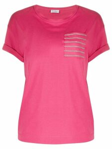 Brunello Cucinelli brass-embellished chest pocket T-shirt - PINK