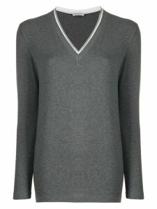Brunello Cucinelli beaded-neckline top - Grey