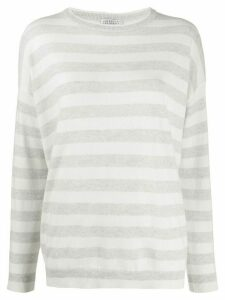 Brunello Cucinelli long sleeve striped sweater - White