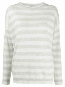 Brunello Cucinelli long sleeve striped sweater - White