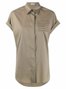 Brunello Cucinelli brass-embellished chest pocket shirt - NEUTRALS