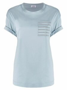 Brunello Cucinelli patch-pocket beaded T-shirt - Blue