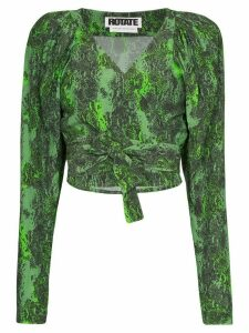 Rotate nancy snake print wrap top - Green