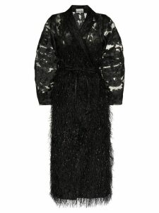 GANNI belted feather-effect coat - Black