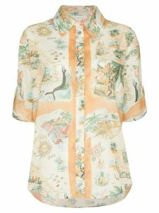 Zimmermann map-print cotton shirt - Orange