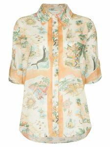 Zimmermann map-print cotton shirt - Orange