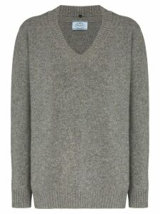 Prada oversized v-neck virgin wool and cashmere-blend jumper - Grey