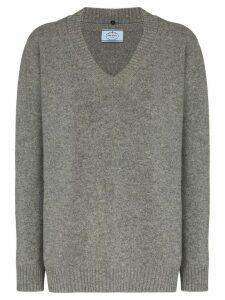 Prada oversized v-neck virgin wool and cashmere-blend jumper - Grey