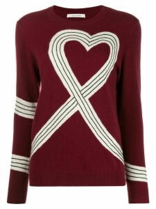 Chinti and Parker heart-motif knitted jumper - Red