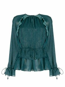 Kenzo metallized ruffled blouse - Blue