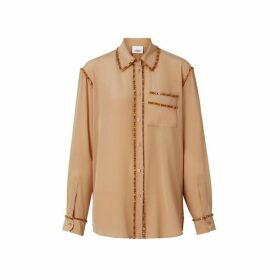 Burberry Crystal Detail Silk Oversized Shirt