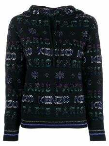 Kenzo metallized logo-pattern hoodie - Black