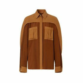 Burberry Cape Sleeve Two-tone Silk Shirt