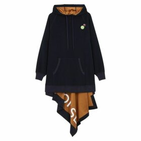 MONSE Navy Asymmetric Hooded Jersey Sweatshirt