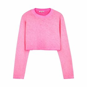 Cotton Citizen Tokyo Neon Pink Cropped Cotton Top