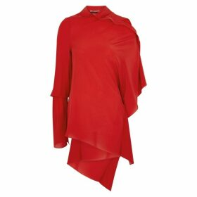Roland Mouret Condor Red Draped Asymmetric Silk Top