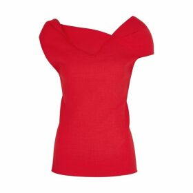Roland Mouret Raywell Red Draped Wool Top