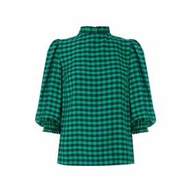 Kitri Angela Green Check Top