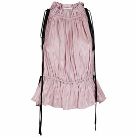 16 Arlington Taylor Pink Gathered Satin Top