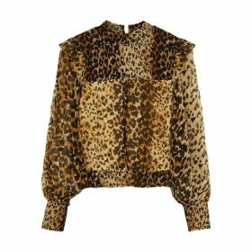 Free People Roma Leopard-print Chiffon Top