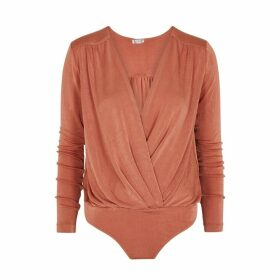 Free People Turnt Copper Jersey Bodysuit
