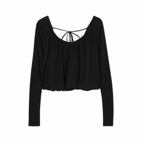 Free People Bondi Black Waffle-knit Jersey Top