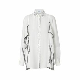 Burberry Mariner Print Lace Trim Silk Oversized Shirt