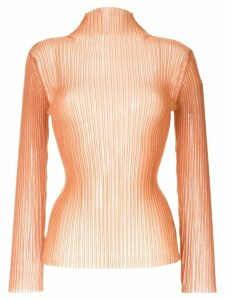 Le Ciel Bleu see-through slim-fit jumper - ORANGE