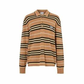 Burberry Long-sleeve Icon Stripe Merino Wool Polo Shirt