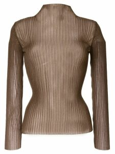 Le Ciel Bleu see-through slim-fit jumper - Brown