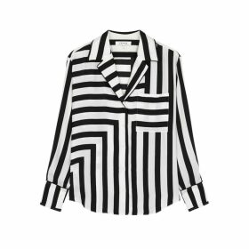 Frame Denim Monochrome Striped Silk Shirt