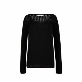 Duffy Scoop Neck Pullover With Open Stitch Back