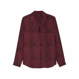 Rails Rebel Burgundy Snake-print Silk Shirt